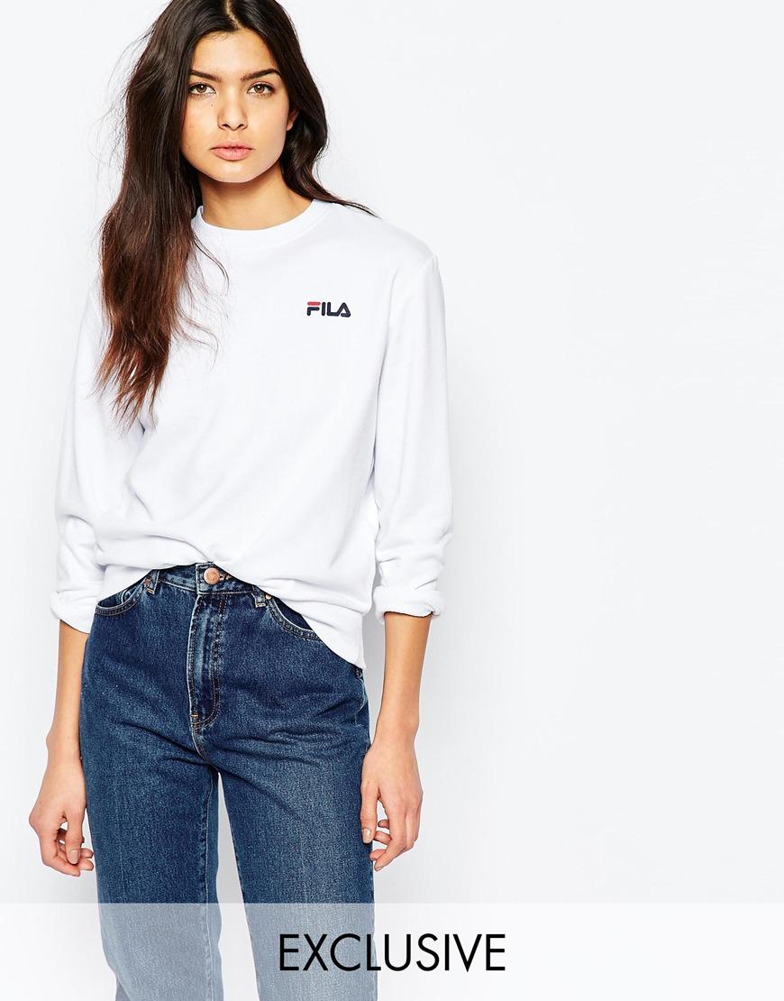 00dca4a0c941 Fila Oversized Boyfriend Sweatshirt With Small Logo in White - Lyst