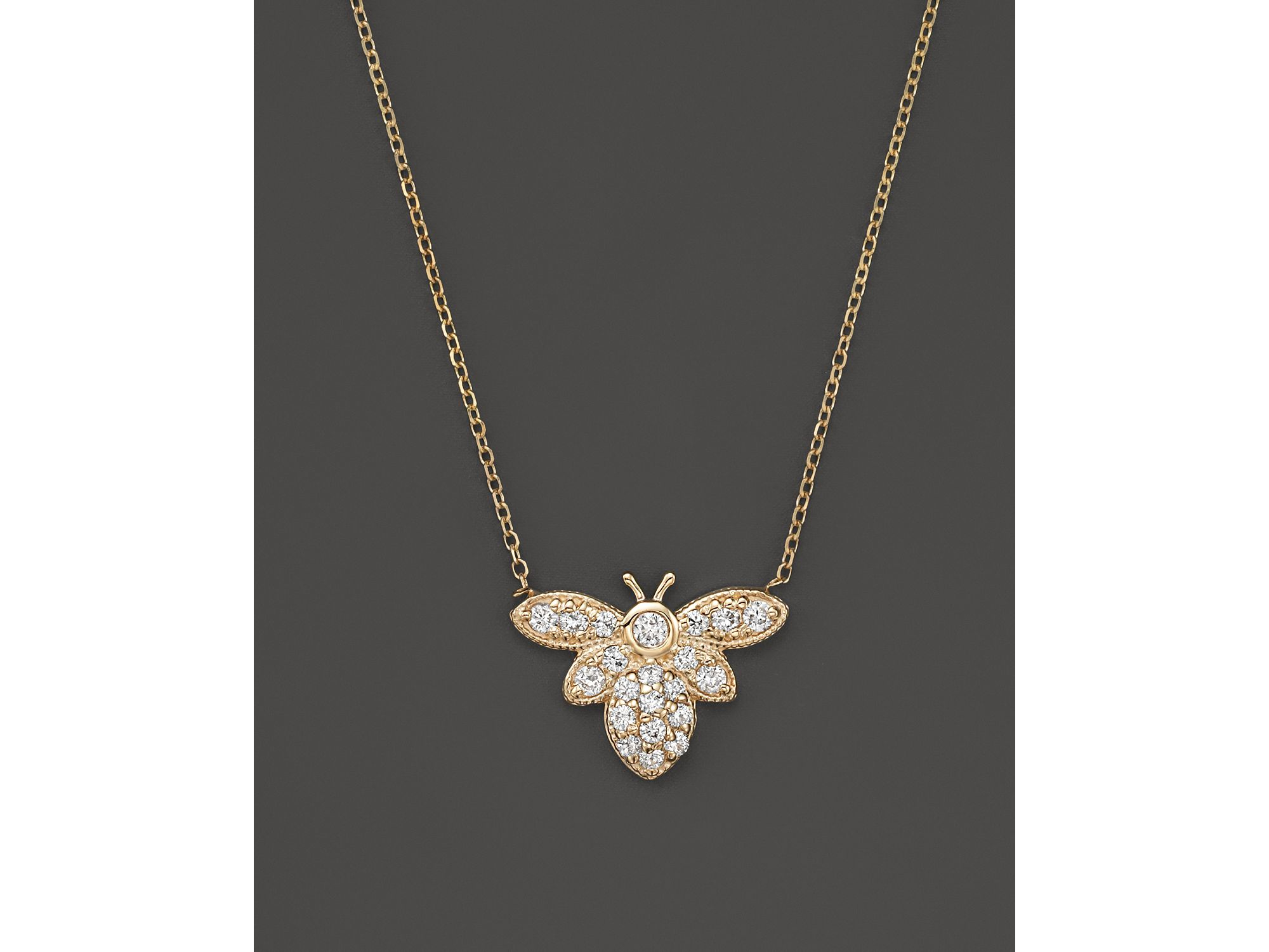 Kc Designs Diamond Bumble Bee Pendant Necklace In 14k