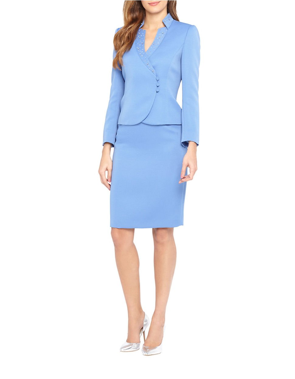 tahari beaded starneck jacket and skirt suit in blue lyst