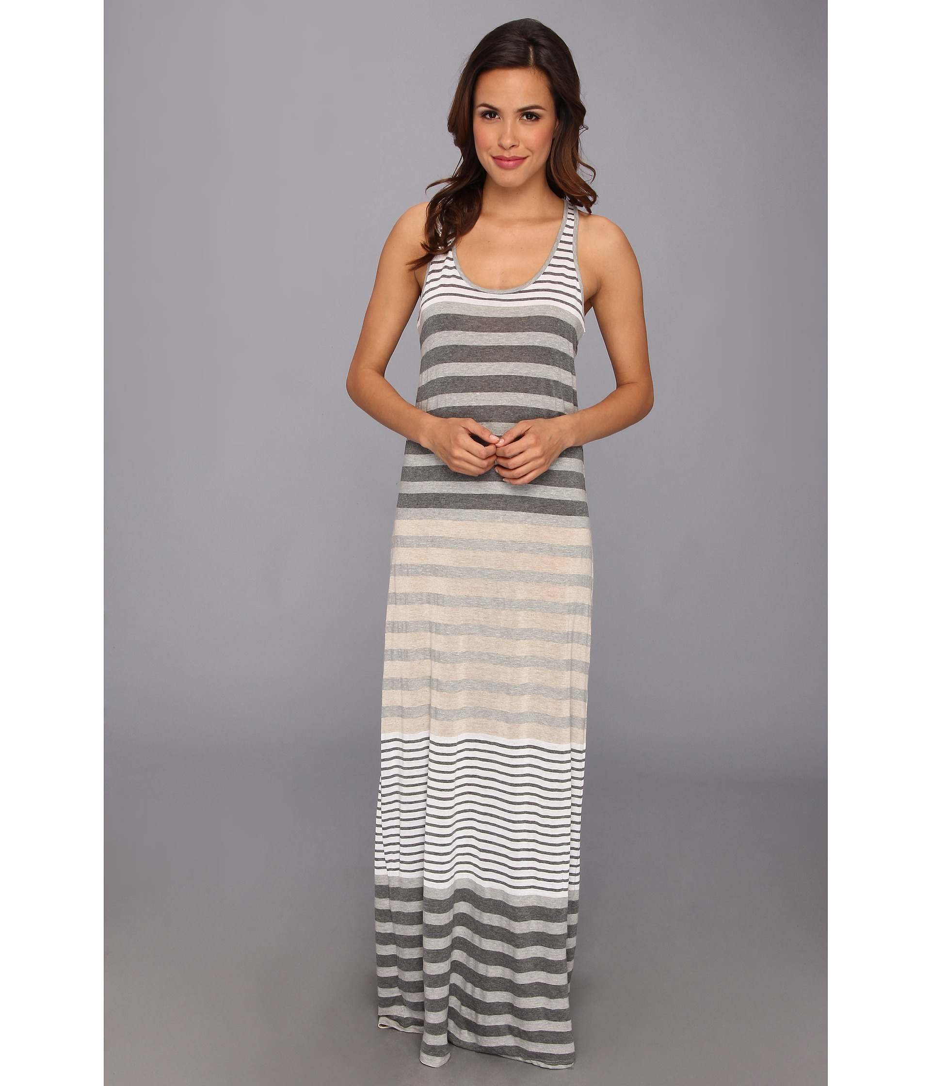 Michael stars Parisian Stripe Maxi Dress in Gray | Lyst