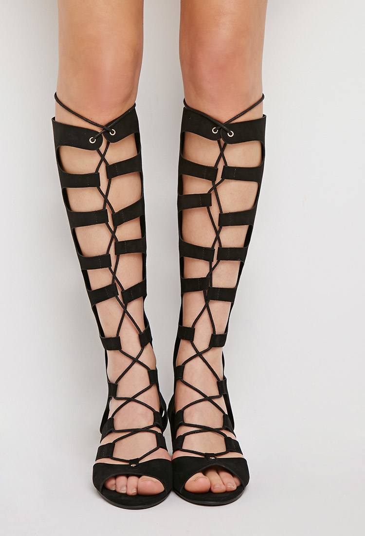 9abd7a6b993d Lyst - Forever 21 Lace-up Gladiator Wedge Sandals in Black
