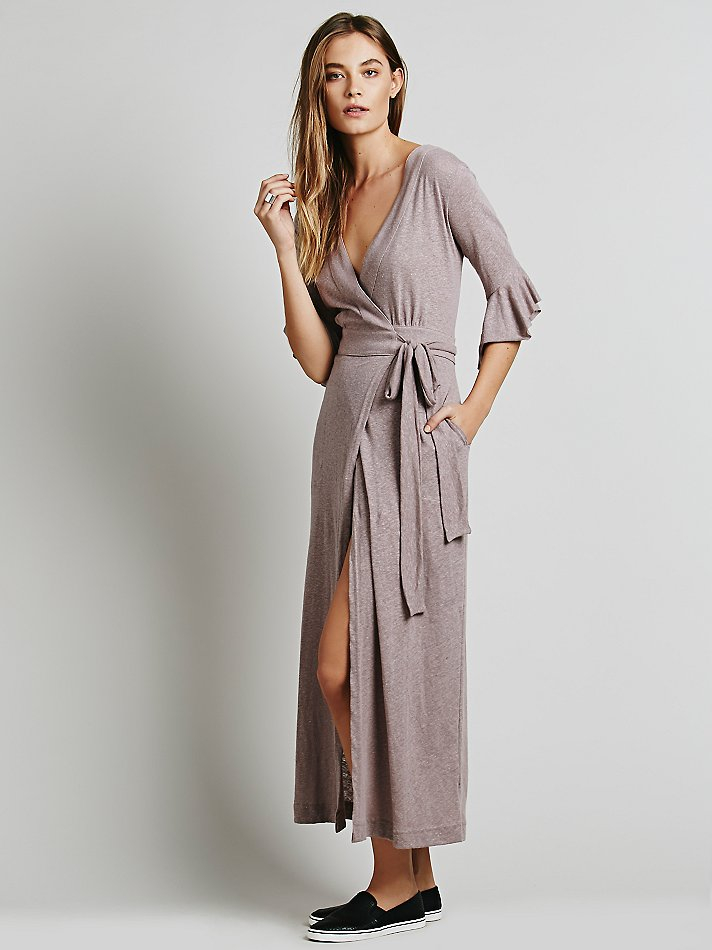 Free People Bolinas Robe Dress In Brown Lyst