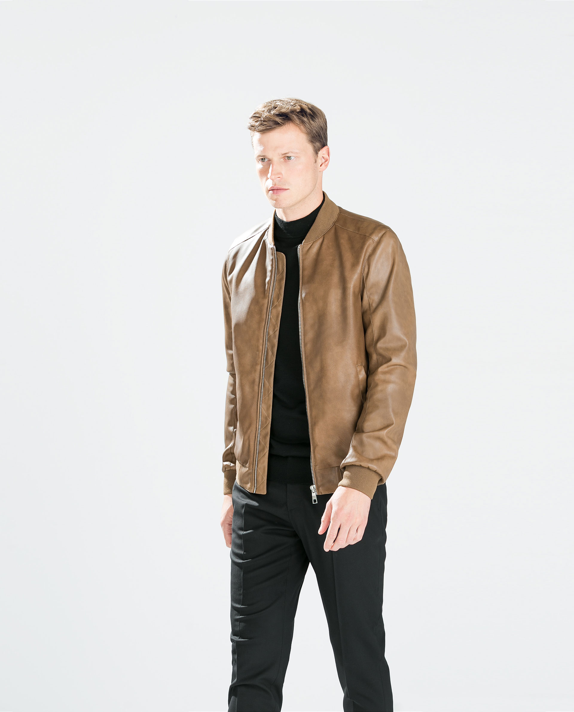 Zara Perforated Faux Leather Jacket in Brown for Men | Lyst