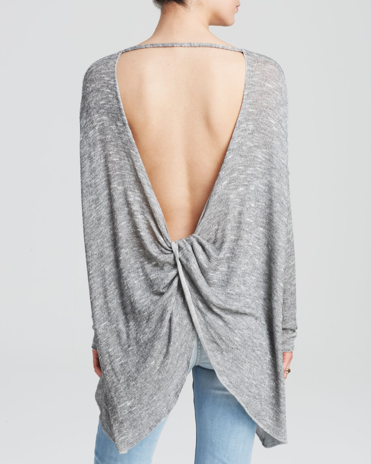 bd2c8ec18 Lyst - Free People Sweater - Chasing You Shadow Hacci in Gray