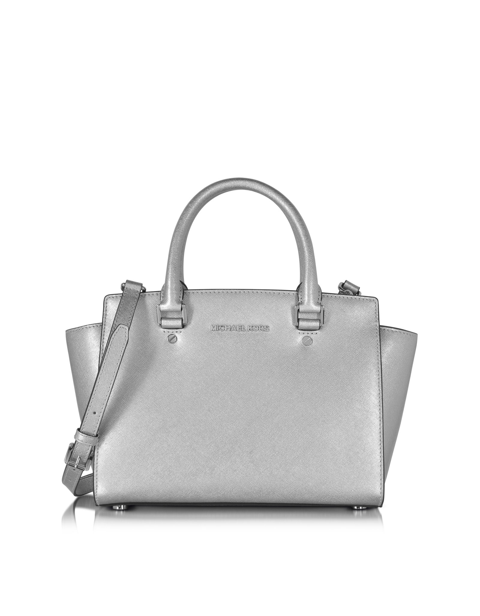 Michael kors Selma Saffiano Leather Medium Satchel Bag in Metallic ...