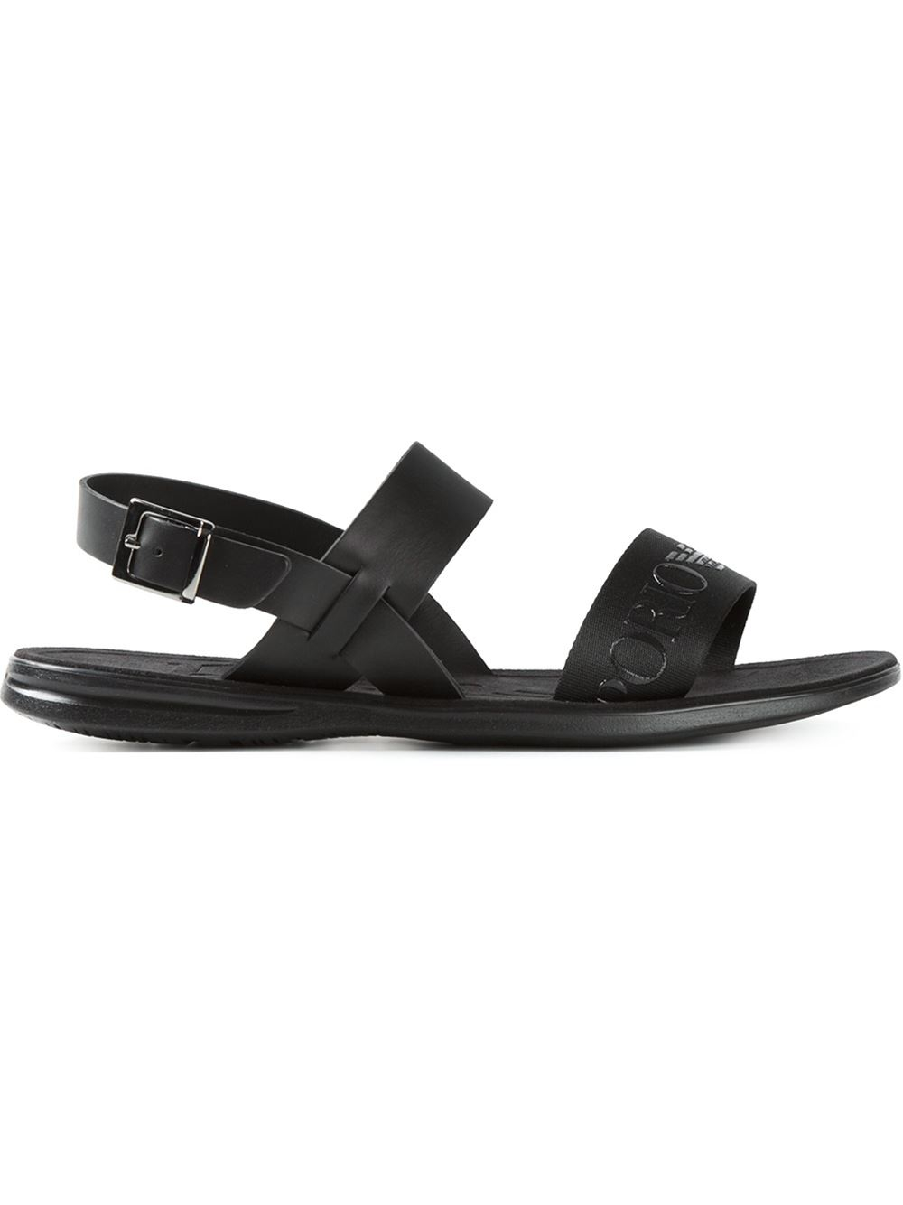 Lyst Emporio Armani Embossed Logo Strap Sandals In Black