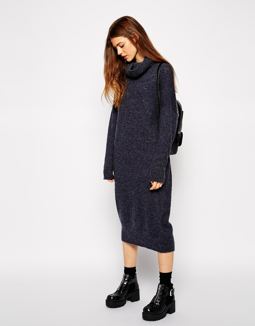 lyst asos oversized midi jumper dress with roll neck in blue