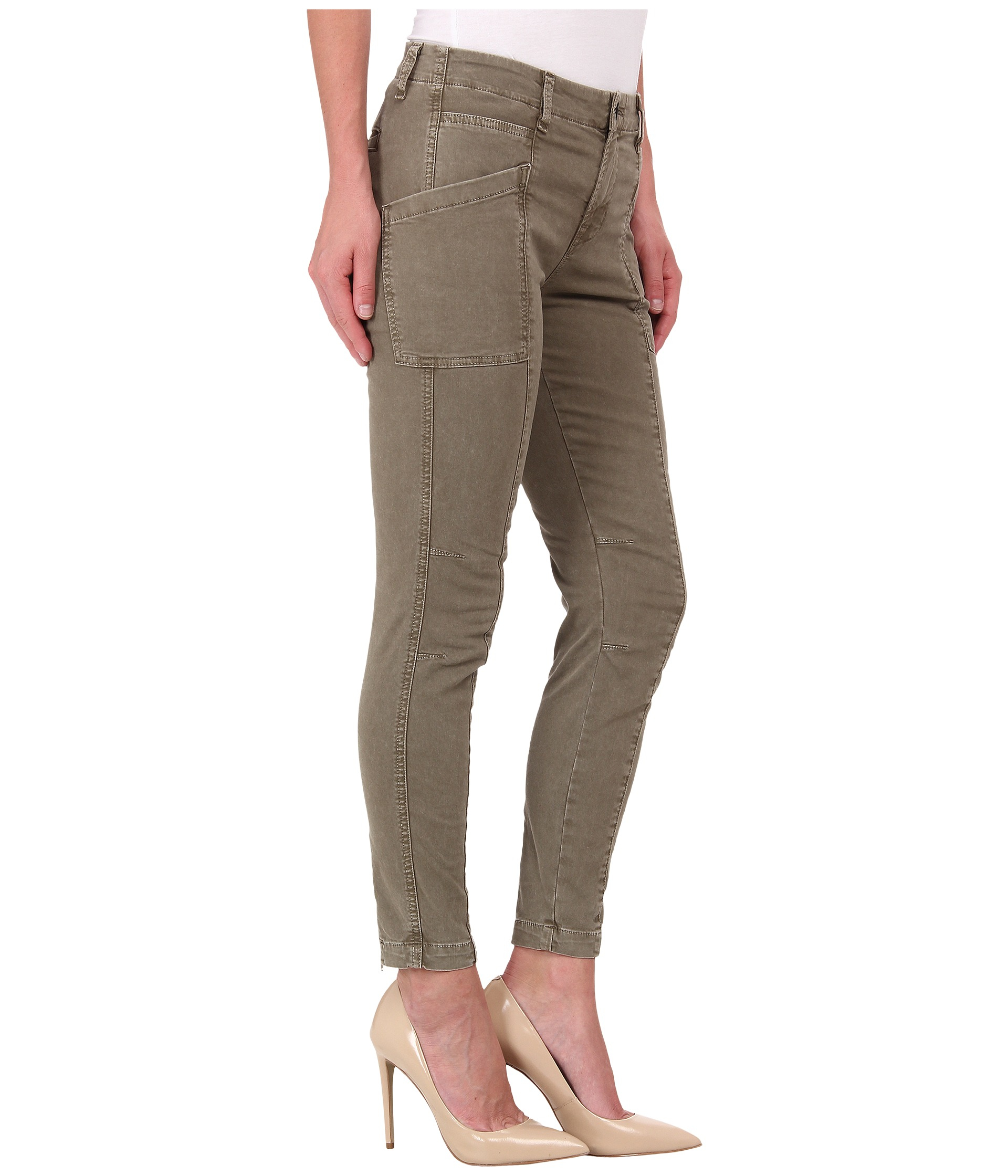 Amazing  Womens Green Slim Fitted Combat Pants Skinny Cargo Trousers Jeans