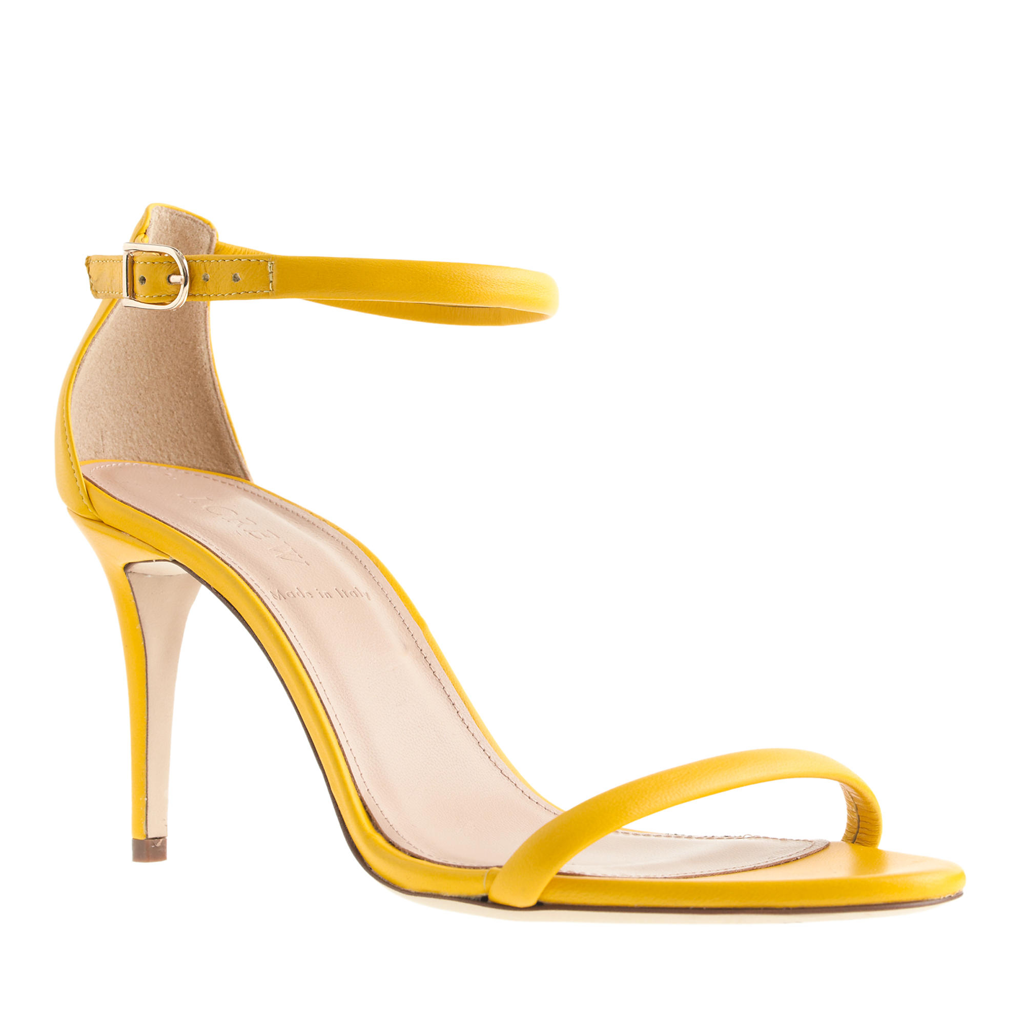 J.crew Strappy High-heel Sandals in Yellow | Lyst