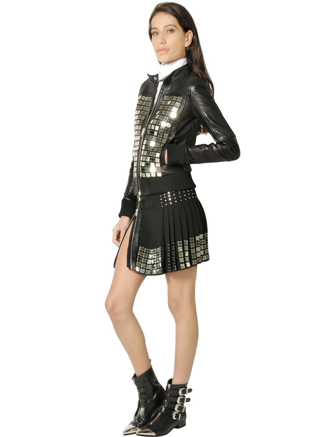 Lyst - Diesel black gold Leather Moto Jacket With Metal Plackets ...