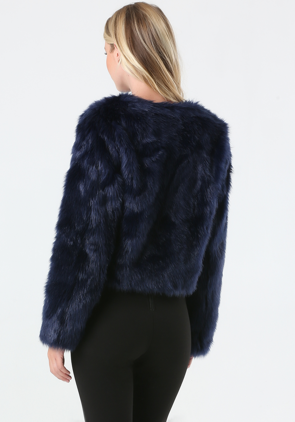 Bebe Faux Fur Evening Jacket in Blue | Lyst