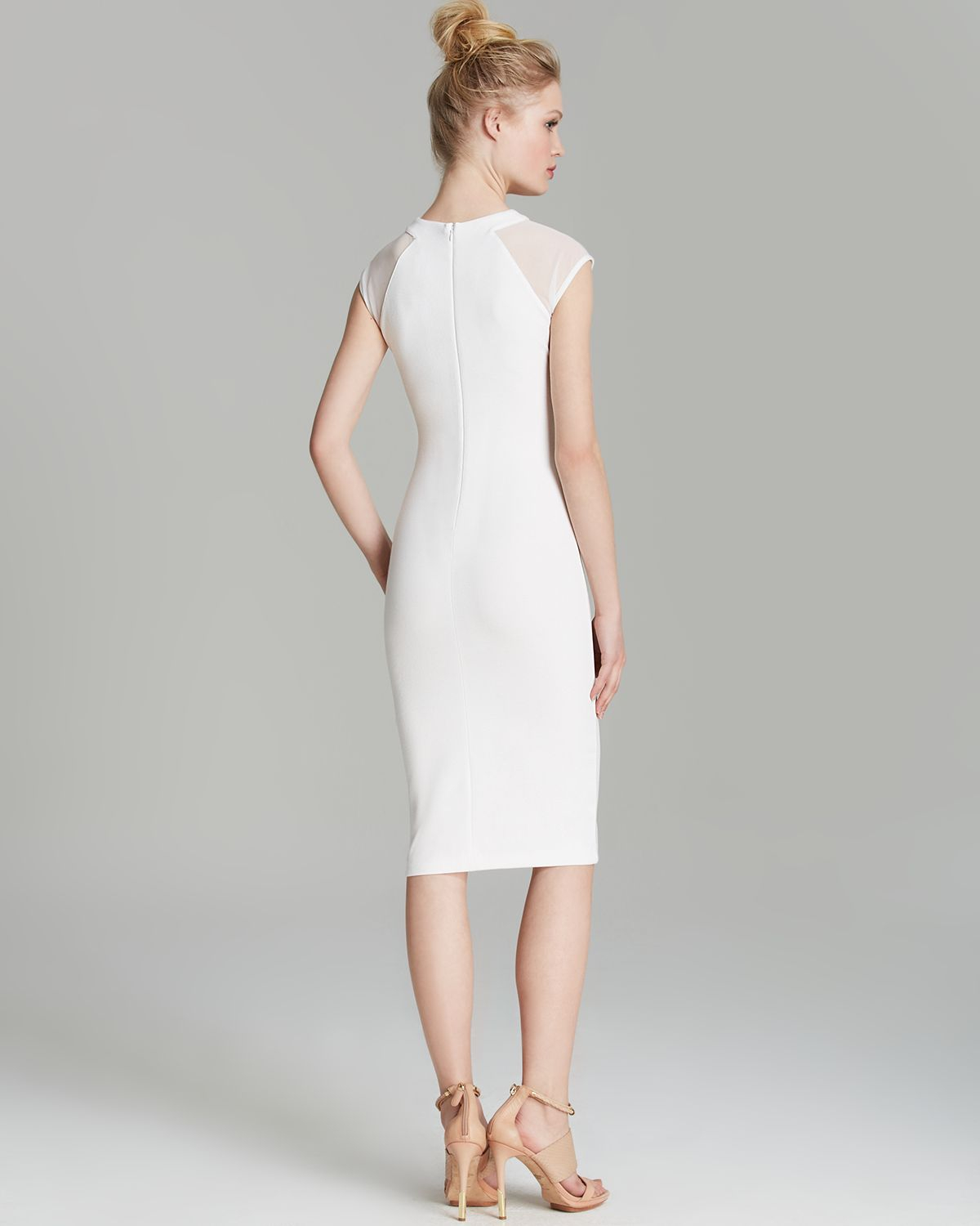 Lyst french connection dress vivien paneled jersey in for French connection shirt dress