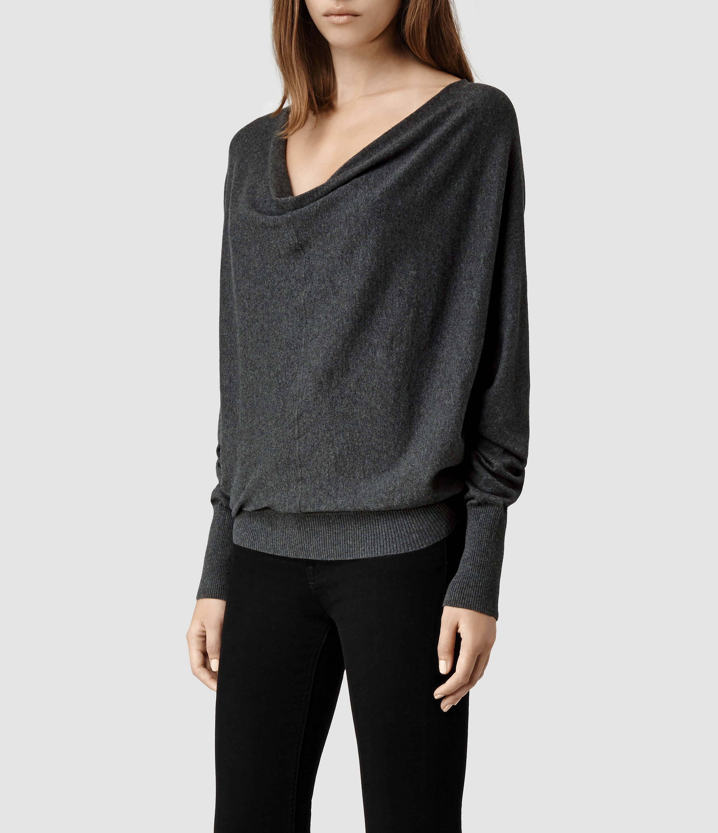 Allsaints Elgar Cowl Neck Sweater in Gray | Lyst