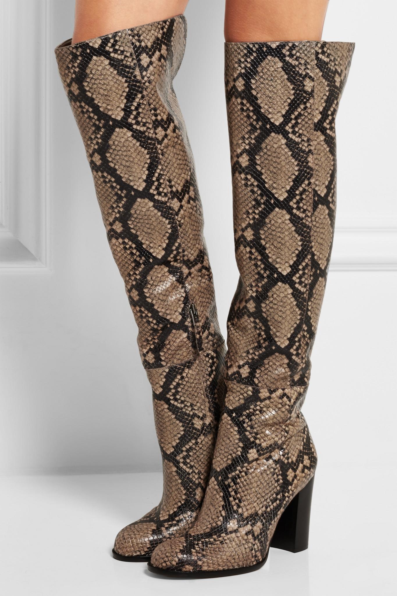 36de2e9f6616 Sam Edelman Rylan Snake-effect Leather Over-the-knee Boots - Lyst