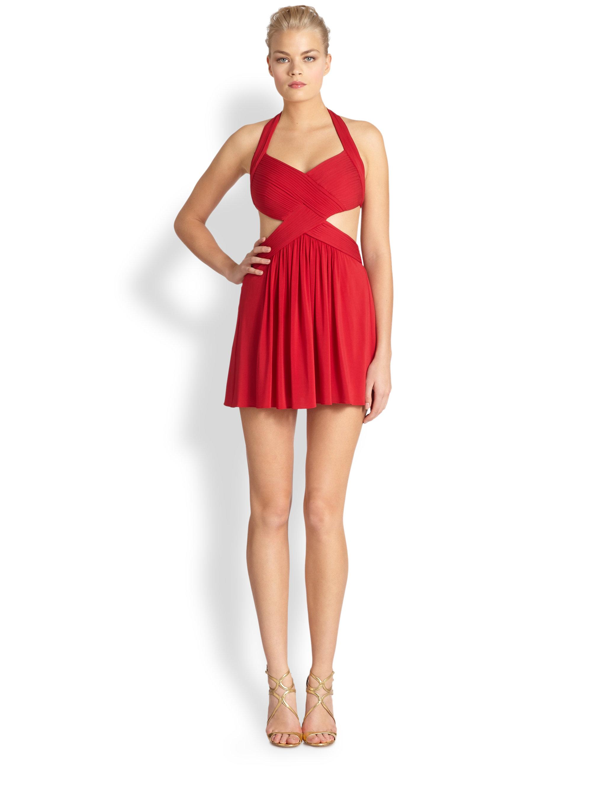 Bcbgmaxazria Halter Side Cutout Dress In Red Lyst