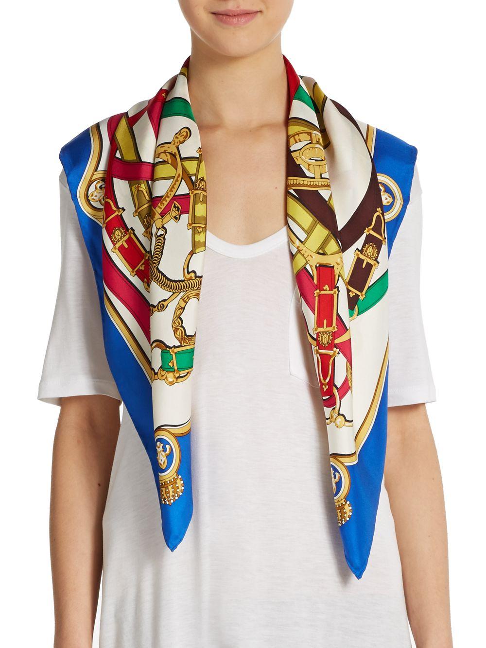 saks fifth avenue black label equestrian theme silk scarf