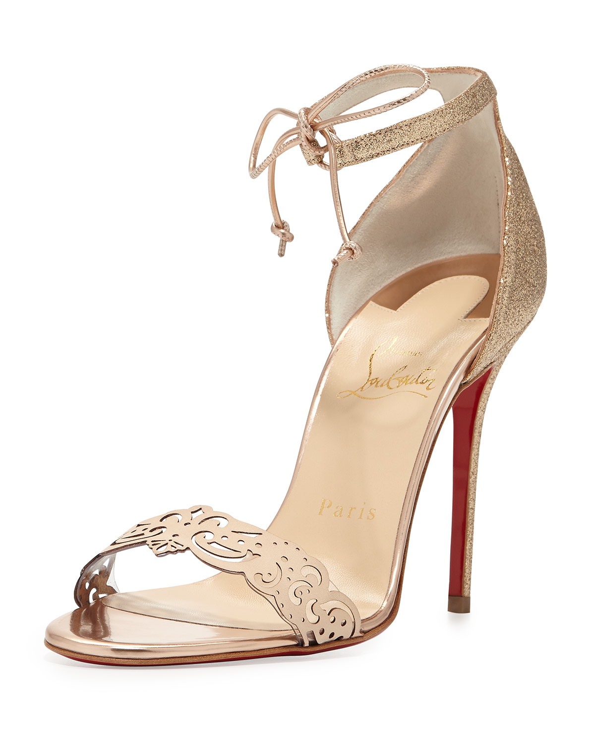 replica christian louboutin shoes - christian louboutin metallic sandals Pewter leather covered ...