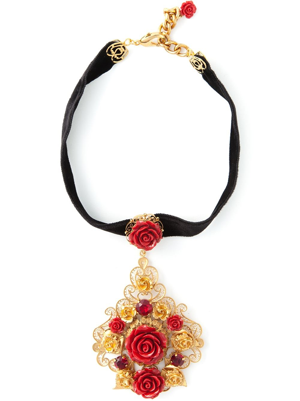 Dolce & Gabbana crystal rose necklace - Metallic Nnu6iLjHj