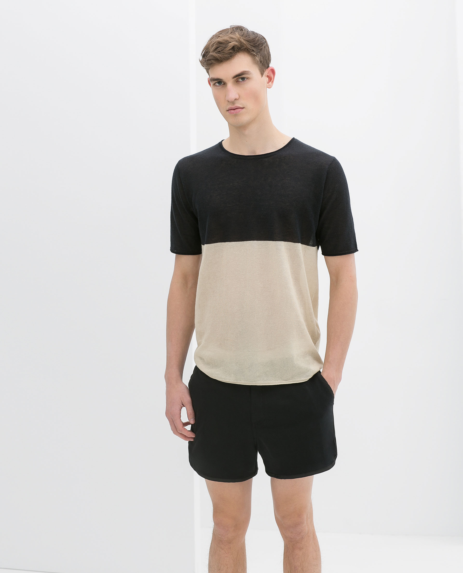 Zara Bermuda Shorts with Contrasting Edging in Blue for Men | Lyst