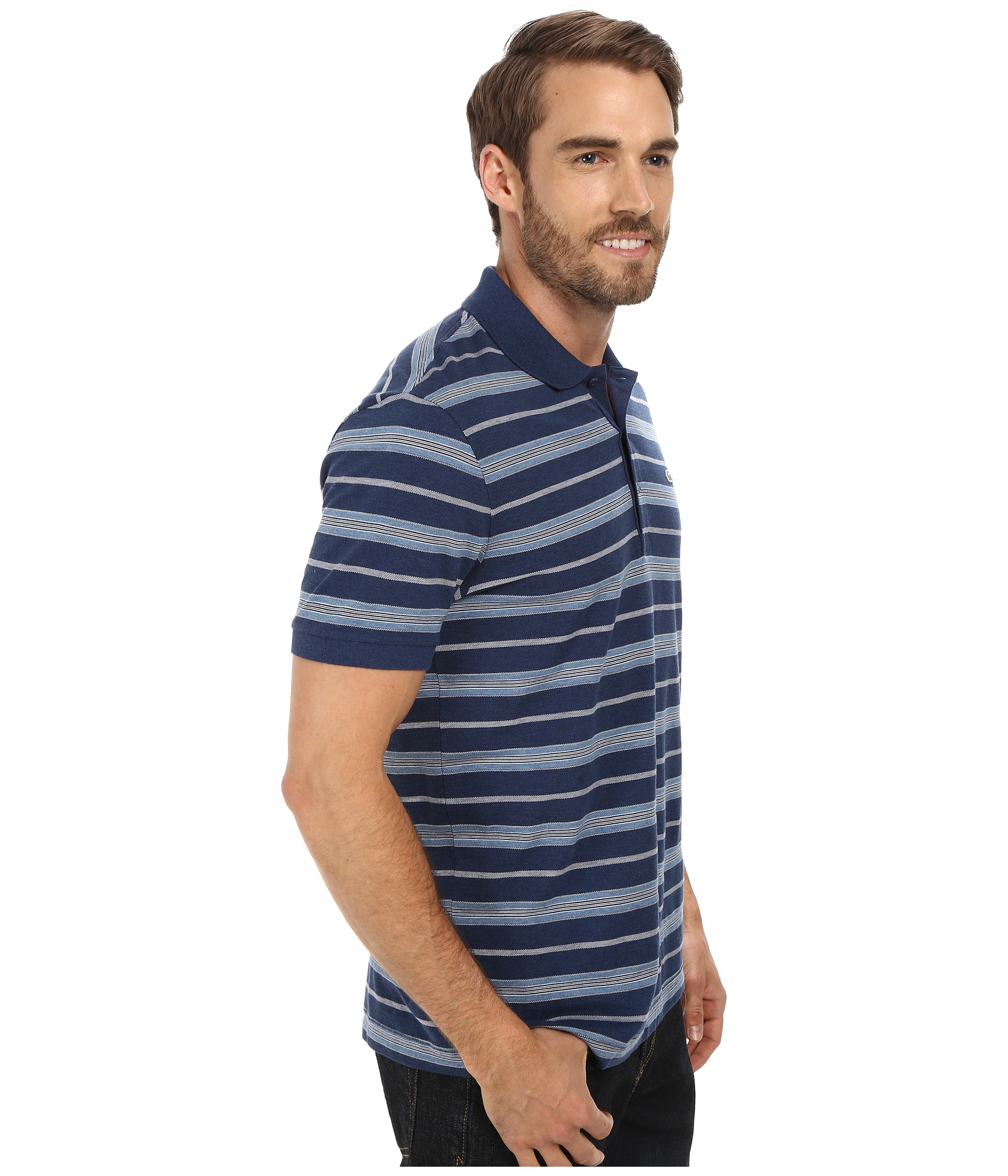 Lacoste cotton stretch pique jersey stripe polo in blue for Lacoste stripe pique polo shirt