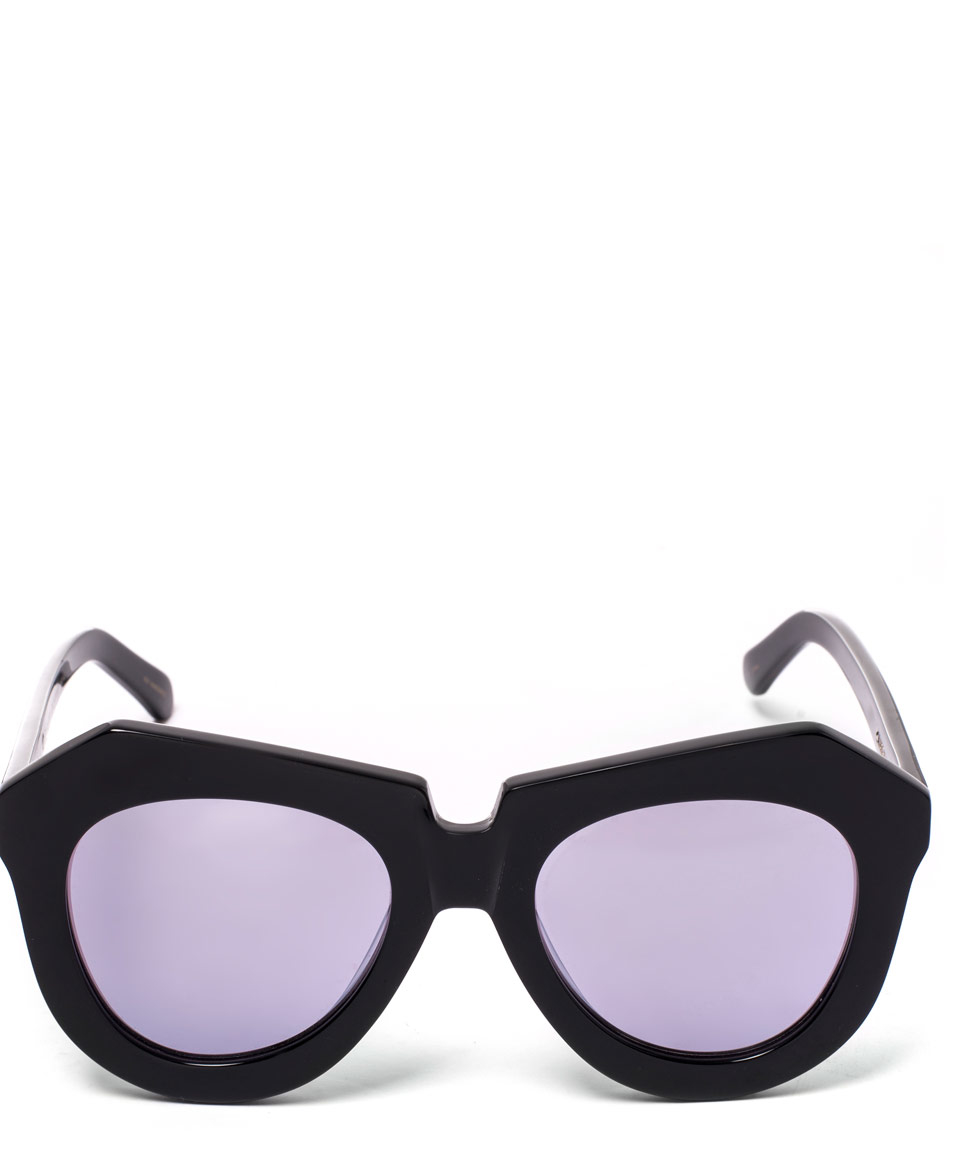 1113fe04fdc8 Karen Walker Silver Superstars One Worship Sunglasses in Black - Lyst