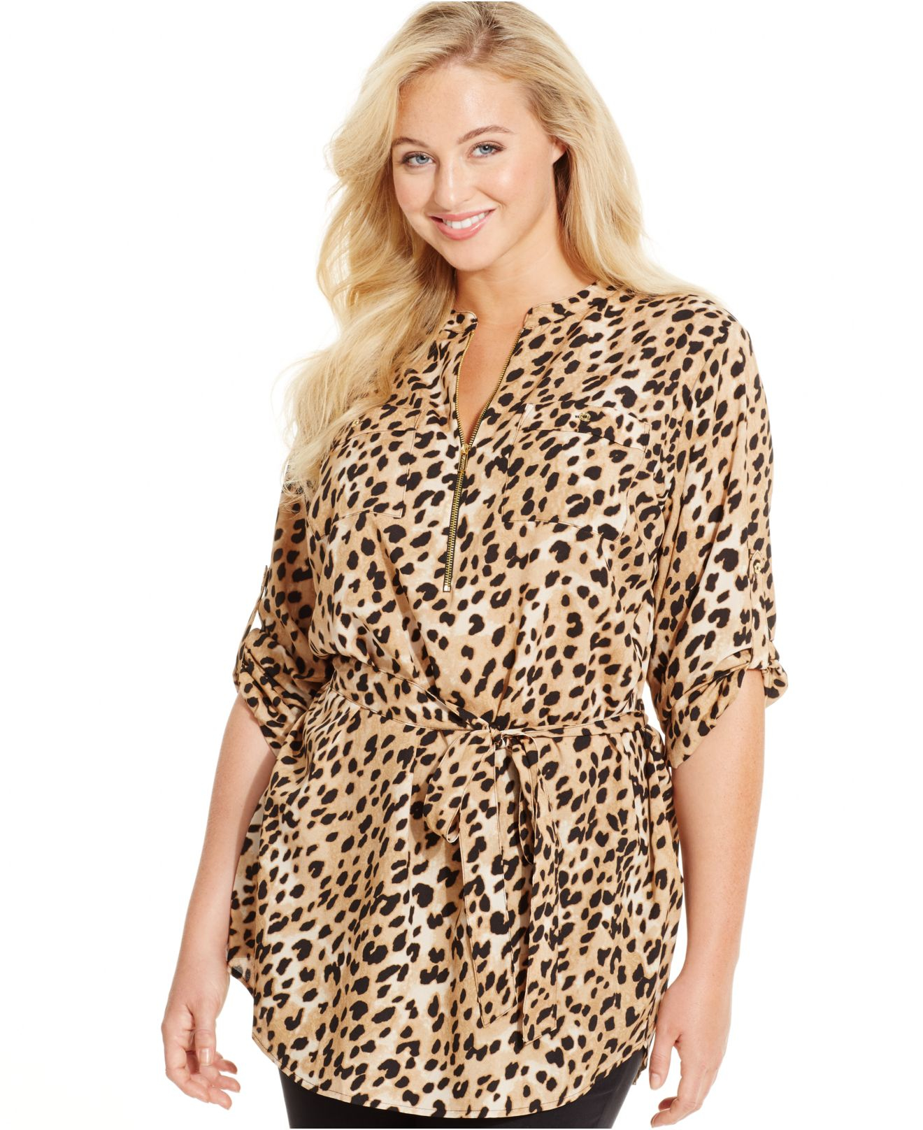 a1ff58c9edd7 Calvin Klein Plus Size Leopard-print Tied-waist Tunic Top in Black ...