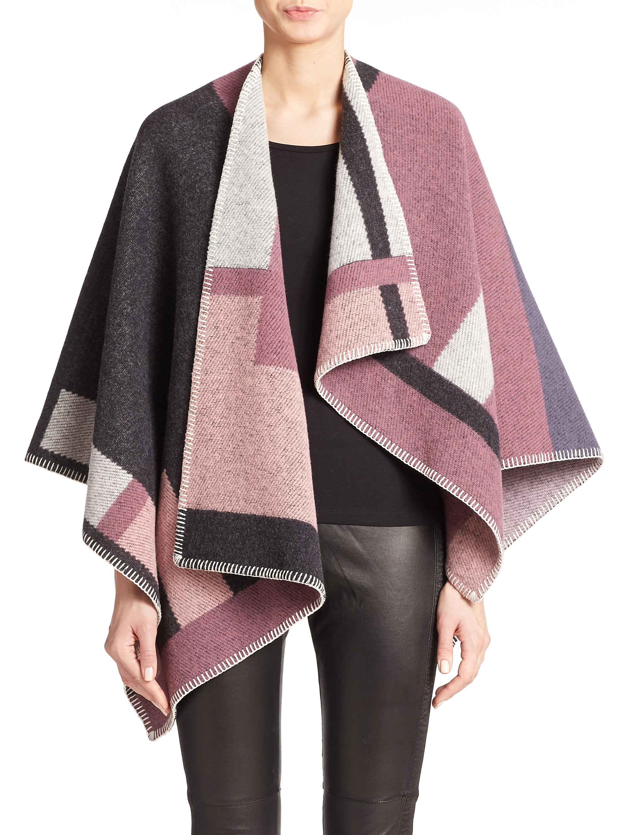 Burberry Wool Cashmere Plaid Cape In Purple Lyst