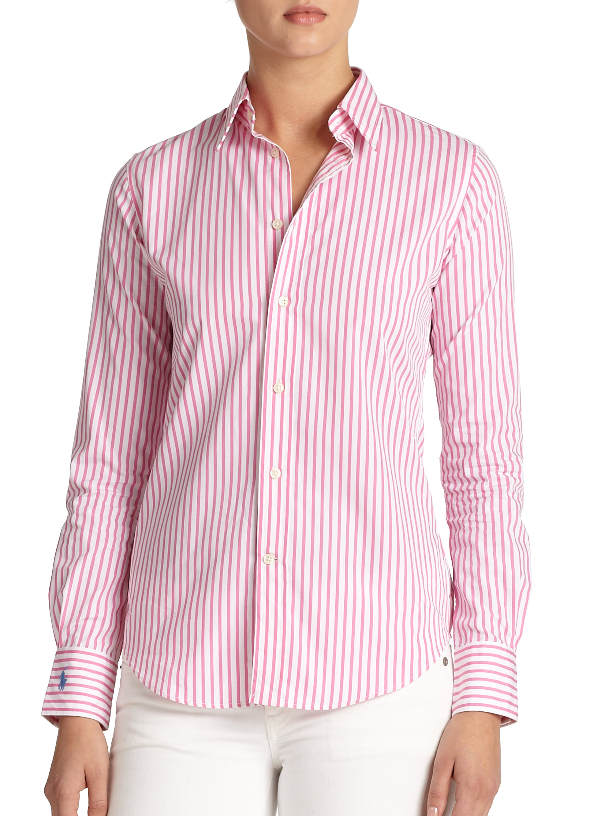 77c4bbcb53 Polo Ralph Lauren Poplin Bengal-Striped Shirt in Pink - Lyst