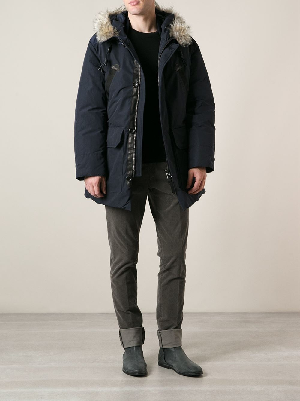 Lyst Tom Ford Fur Trimmed Parka In Blue For Men