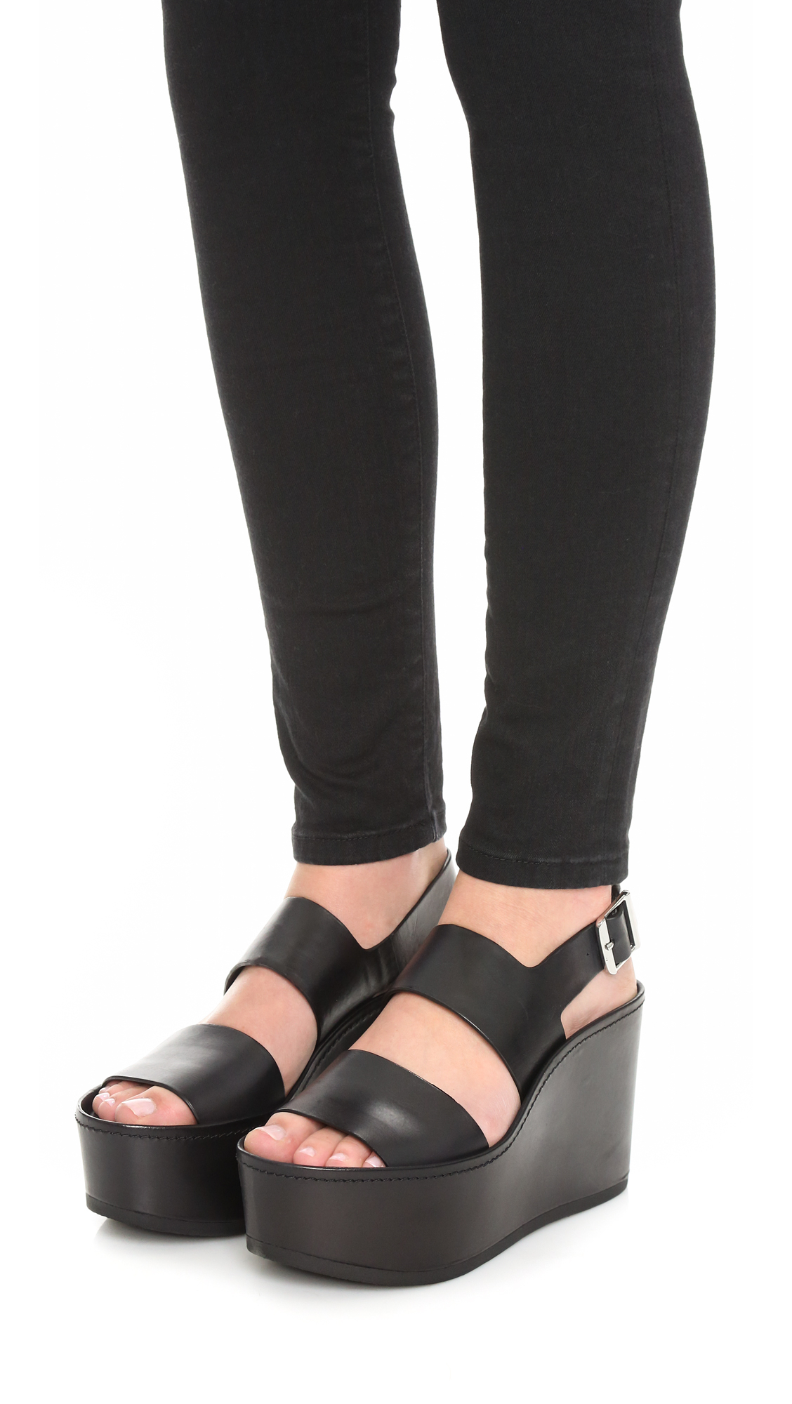 ff3e91ce1f9 Lyst - Vince Idalia Wedge Sandals in Black