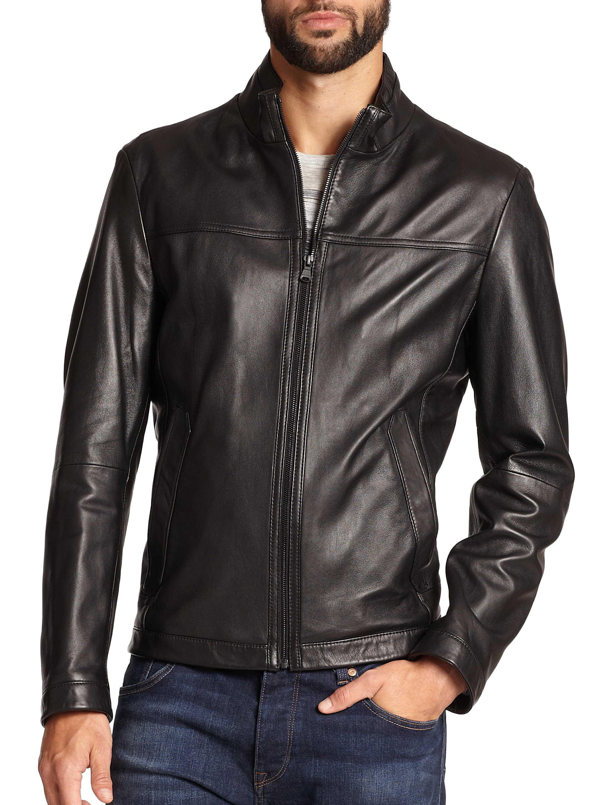 Hugo boss black leather jacket men