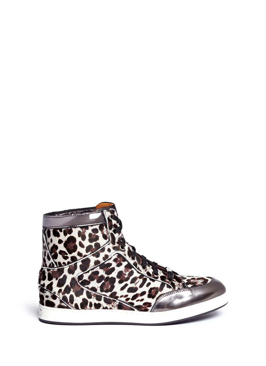 jimmy choo tokyo leopard print pony hair hightop sneakers in multicolor multi colour animal. Black Bedroom Furniture Sets. Home Design Ideas