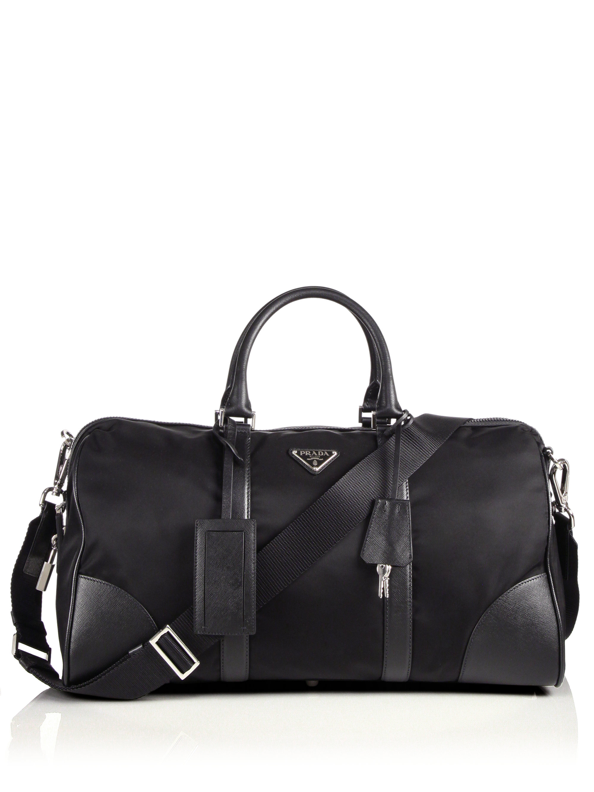 Prada Nylon \u0026amp; Saffiano Leather Duffel Bag in Black for Men | Lyst