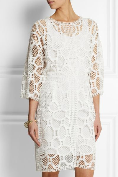 Crochet Lace Dress : ChloE Crocheted Lace Dress in White Lyst