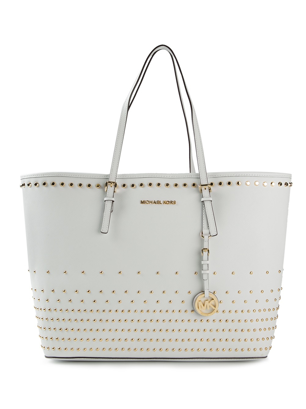 0e0a93d7b1cc MICHAEL Michael Kors Jet Set Travel Studded Tote in White - Lyst