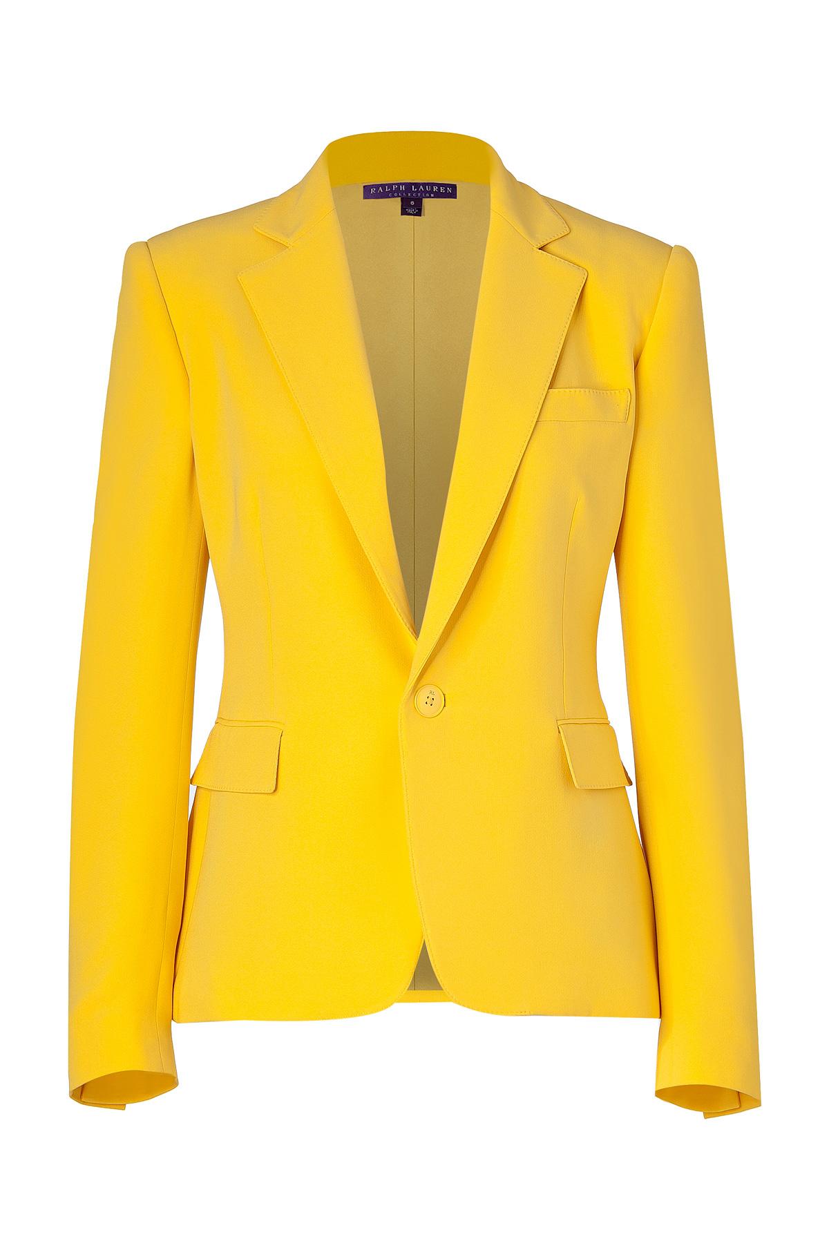 Ralph Lauren Collection Yellow Silk Cady Keaton Blazer In Yellow | Lyst