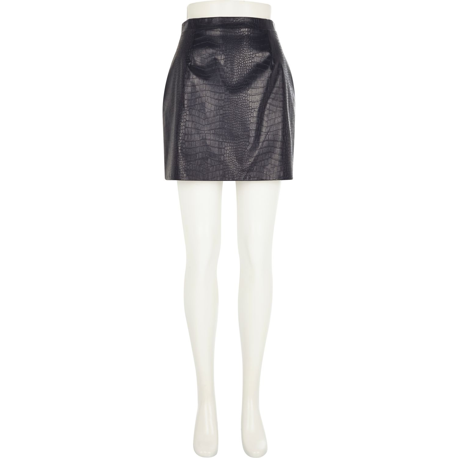 river island navy leather look mock croc mini skirt in