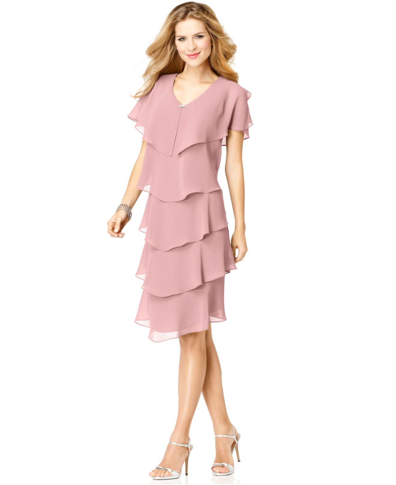 Patra Short-Sleeve Tiered Dress in Pink - Lyst