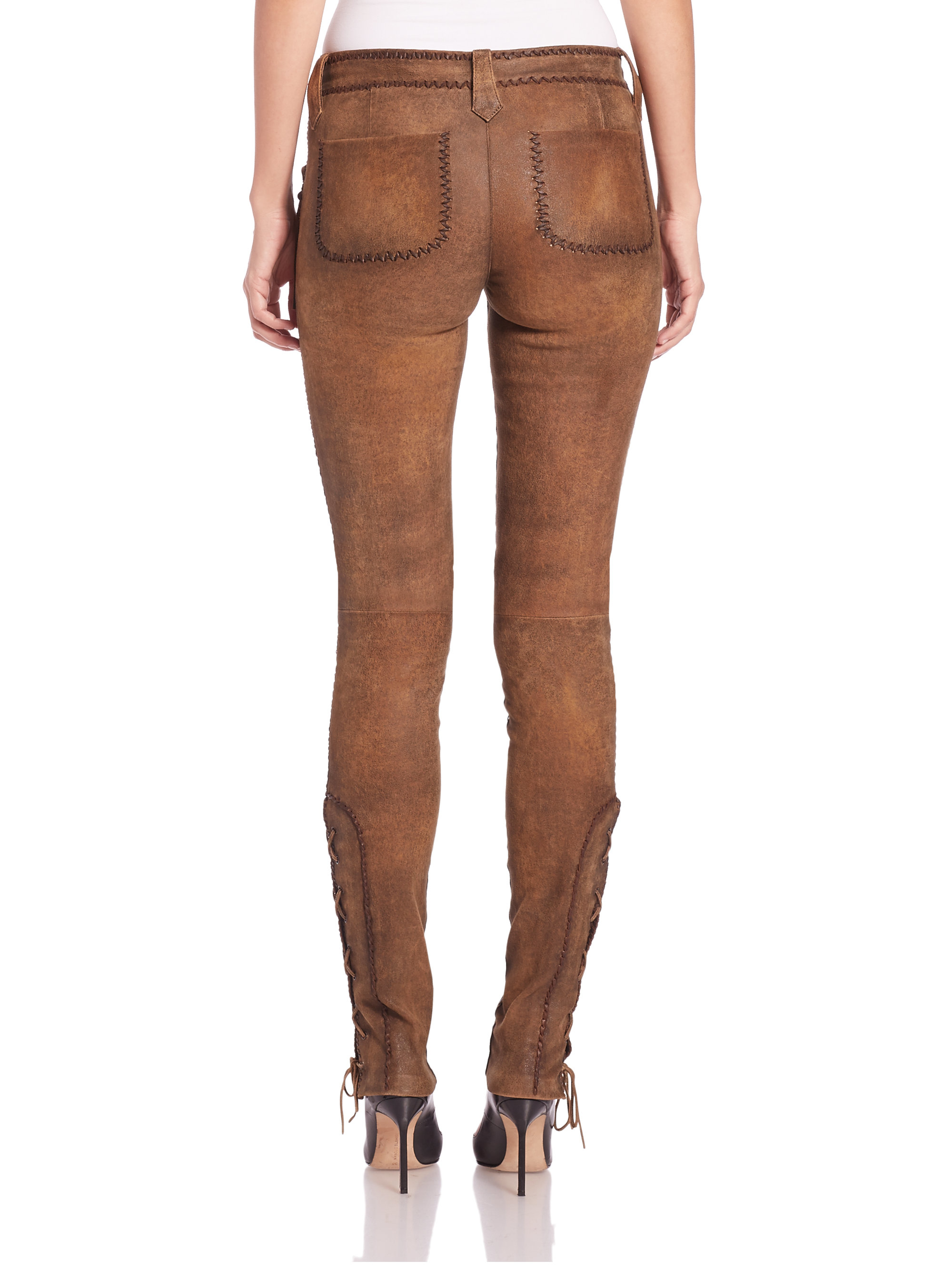 vivid and great in style hot-selling genuine details for Polo Ralph Lauren Brown Fringed Stretch Leather Pants