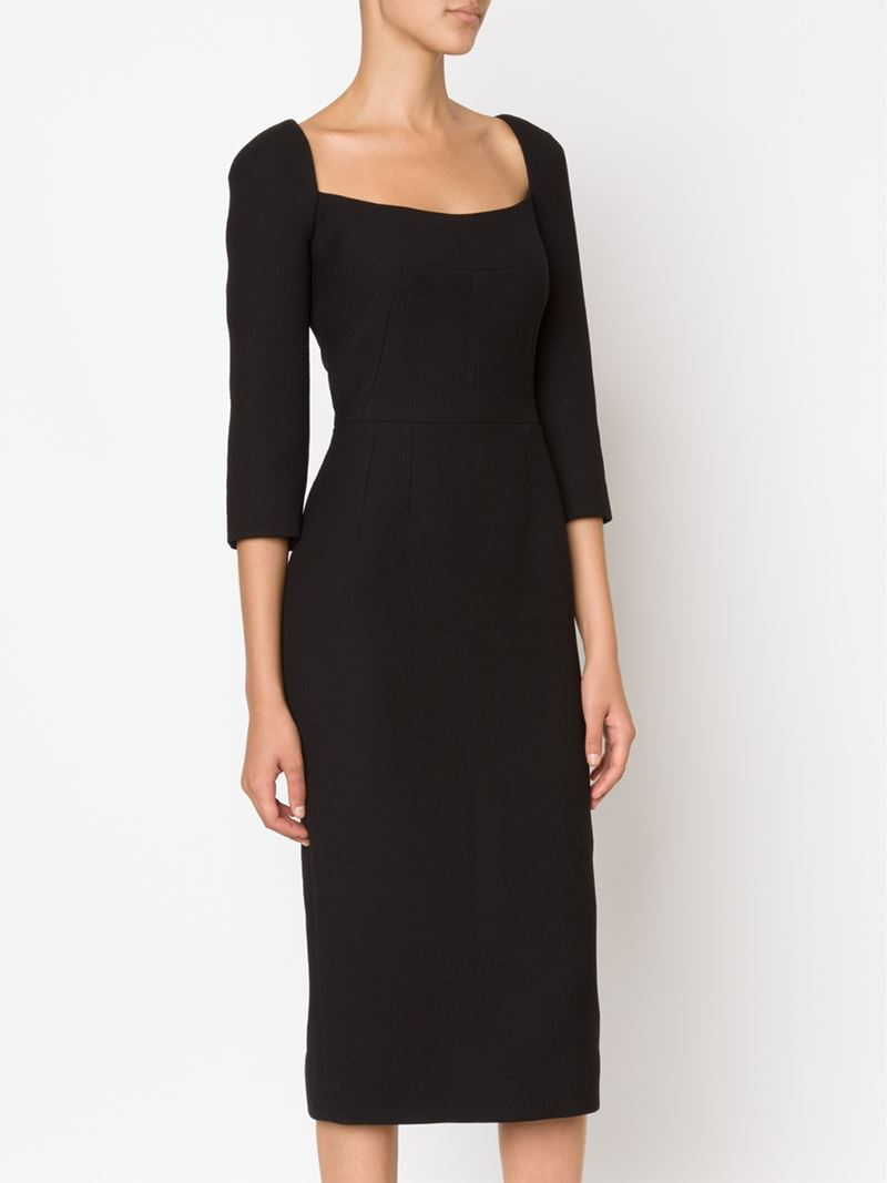 Dress Square Double Thai 100 Viscose: Dolce & Gabbana Fitted Square Neck Dress In Black