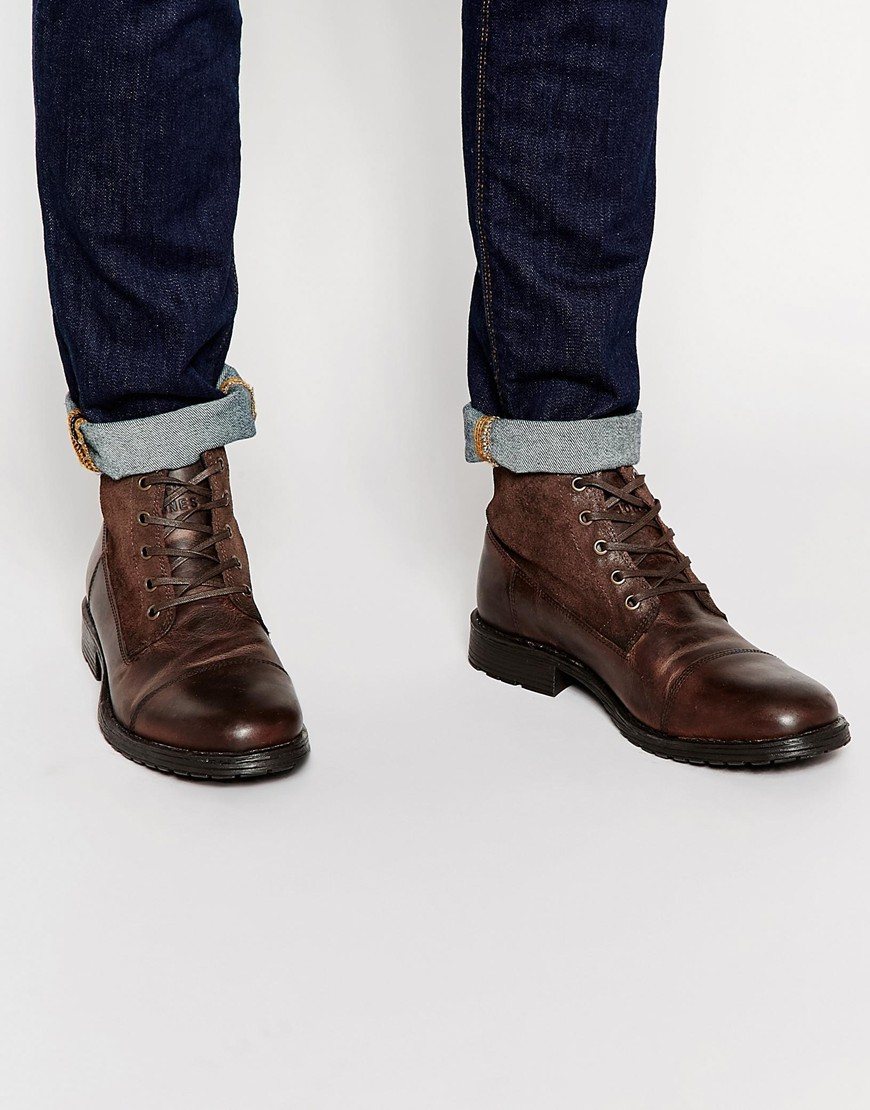 Jack & Jones Brogue Leather Boots c8ssVI