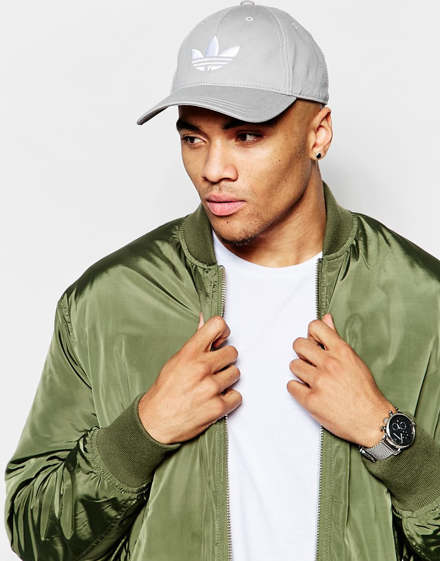 Lyst - adidas Originals Trefoil Cap In Grey in Gray for Men 60b26581b1c