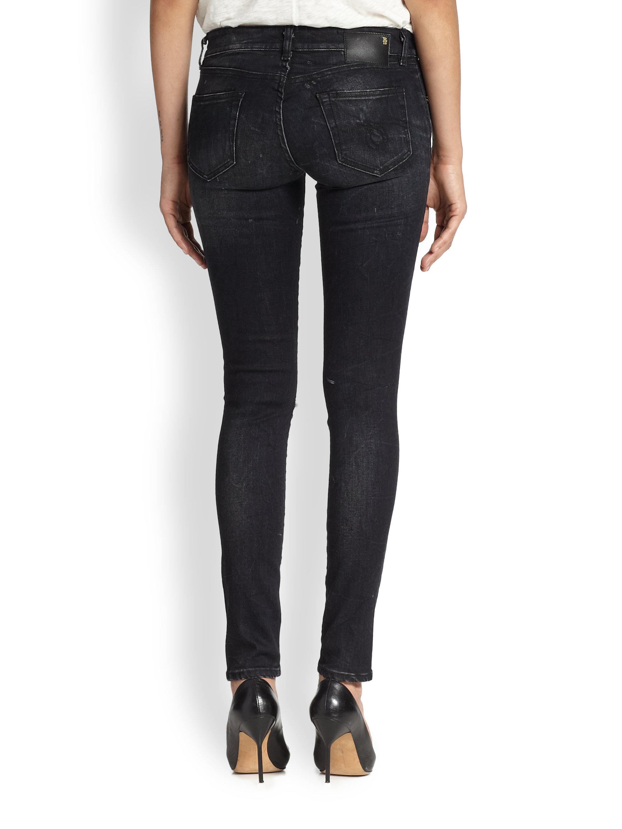 R13 Distressed Skinny Jeans in Black | Lyst