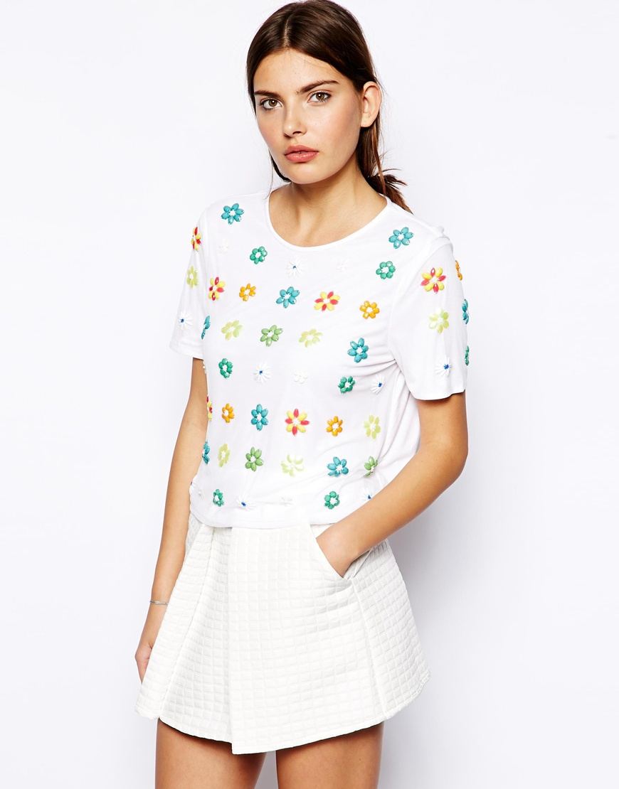 Lyst asos top with embellished flowers in white gallery mightylinksfo