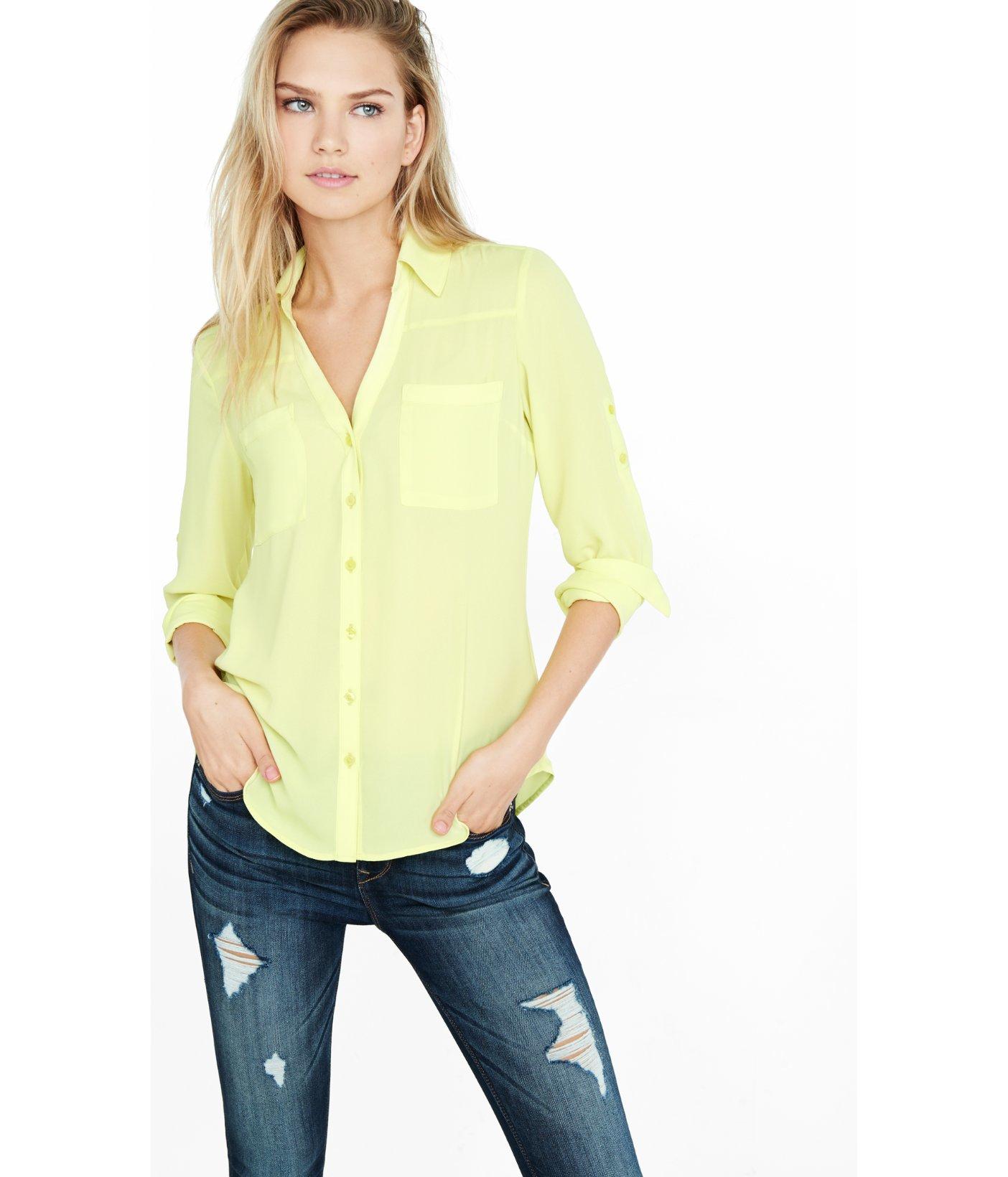 7115d53ed1dc2 Lyst - Express Original Fit Convertible Sleeve Portofino Shirt in Yellow