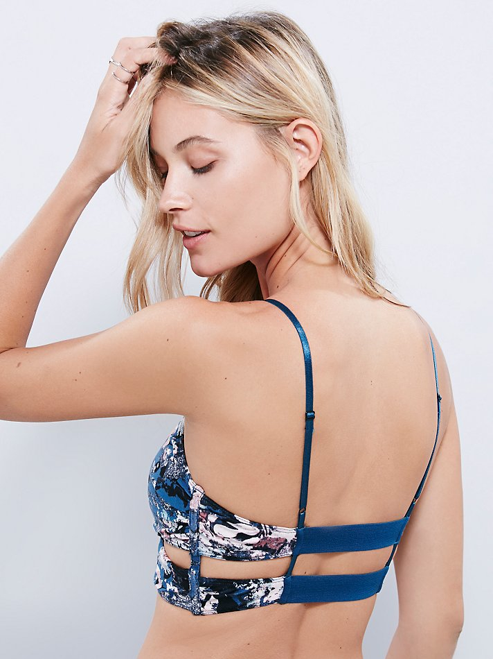 9cc8b62433aa9 Lyst - Free People Floral Patterned Bralette in Blue