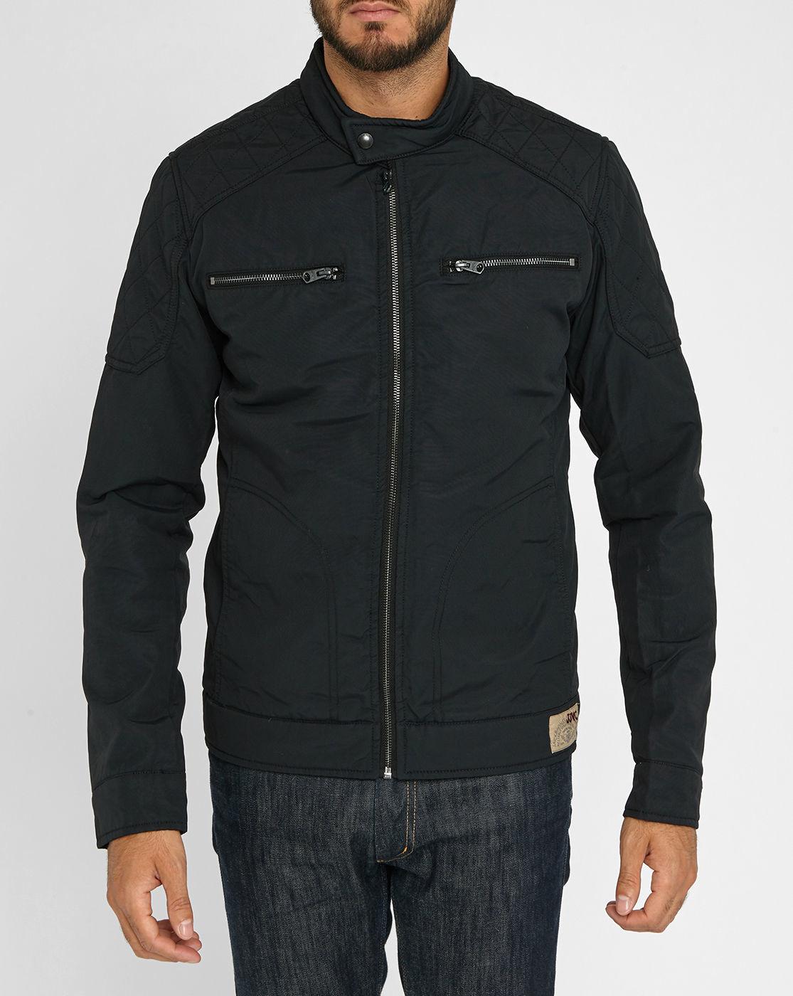 jack jones black chest pockets motorcycle jacket in. Black Bedroom Furniture Sets. Home Design Ideas