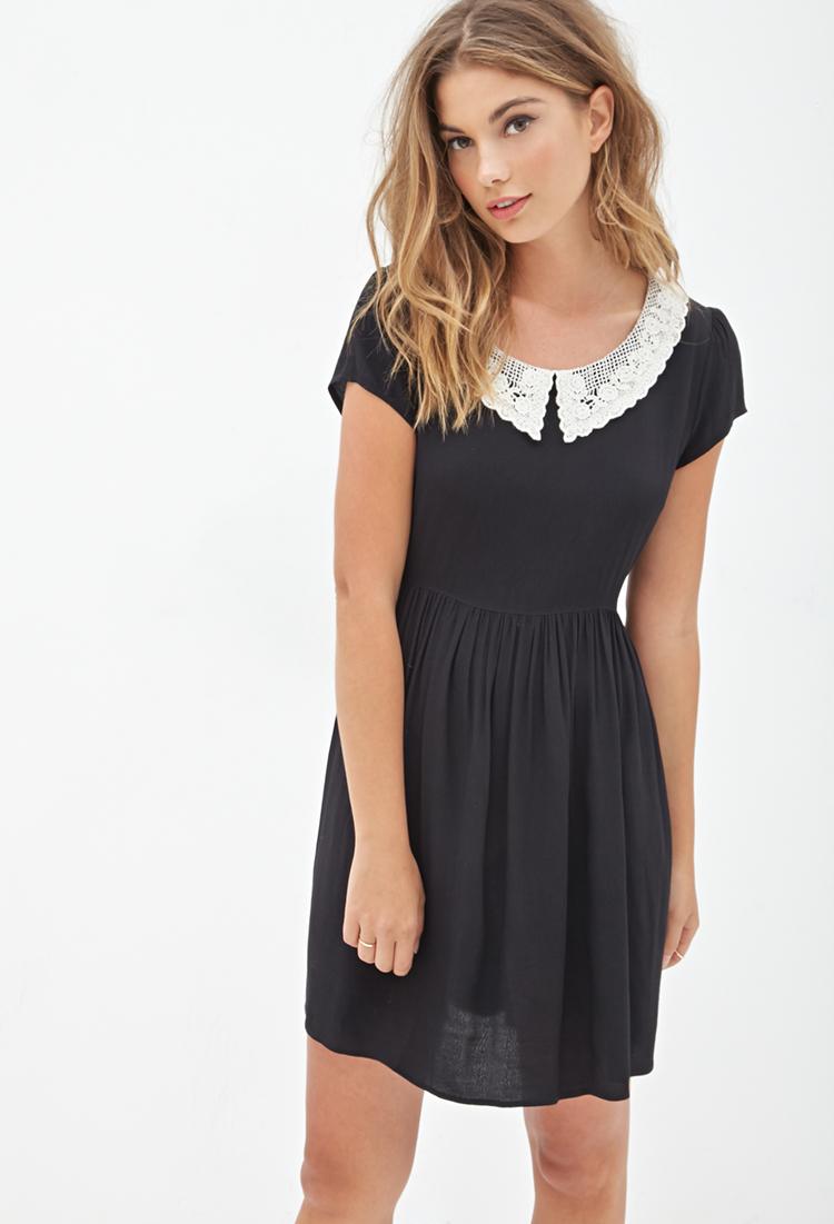 Lyst Forever 21 Crochet Peter Pan Collar Dress You Ve
