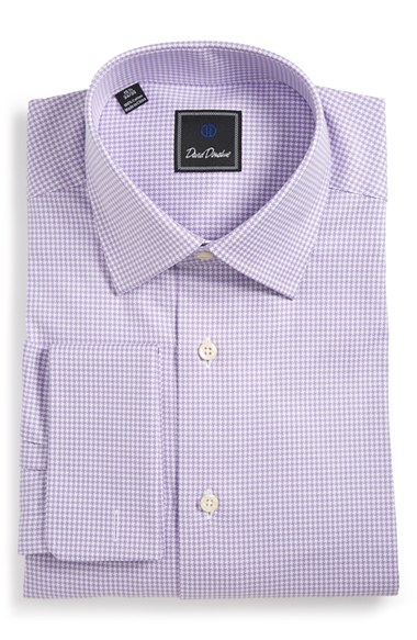 David donahue regular fit houndstooth dress shirt in for David donahue french cuff shirts