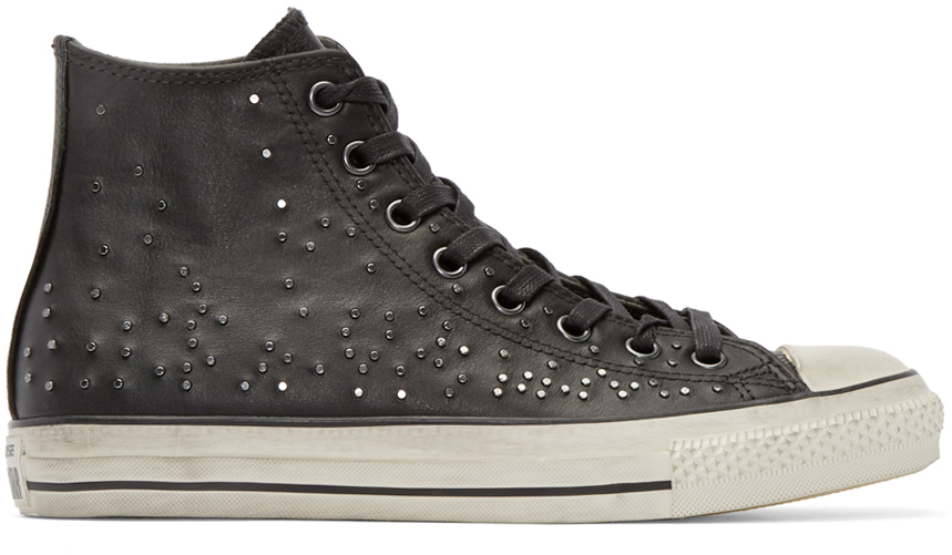 Lyst - Converse Black Leather Studded High-top in White for Men a5d6b3ef7